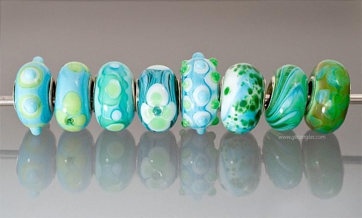 """""""Türkis-Grün"""" Pandora-/Trollbeadstyle"""" Glasperlen aus Muranoglas mit Silber925 Hülse"""