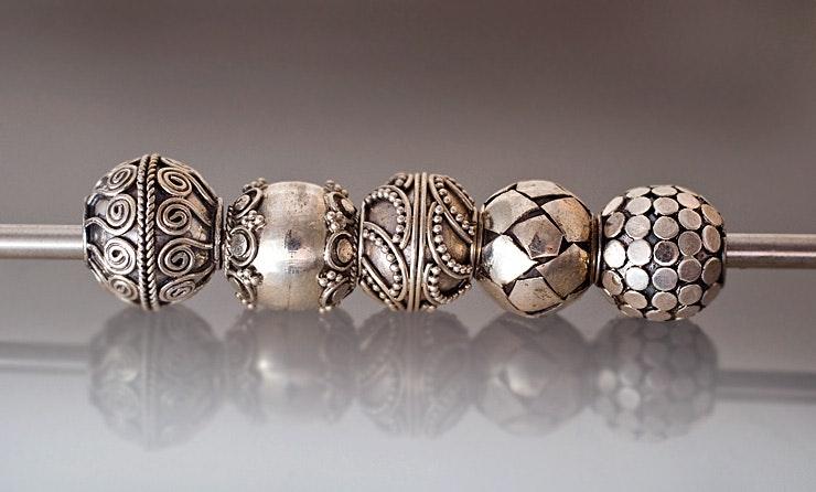 Diverse Echt-Silber Modulperlen mit 5mm Kanal für alle Wechselarmbänder