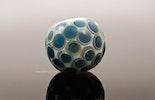 """""""Night-Drops"""" Weisse Muranoglasperle mit grauen Klarglasdots darauf Kronosdots"""