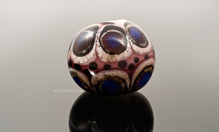 """Lady Peacock"" large Murano glass bead with silver and Double-Helix Glass CHF 40.-"