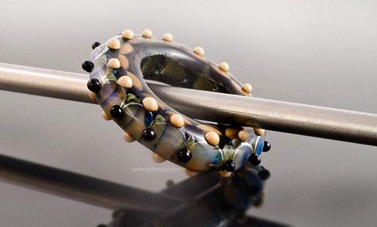 """Circle"" Fingerring oder als Amulett komplett aus Glas Gr.17"