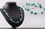Halskette mit tuerkis Glasperlen