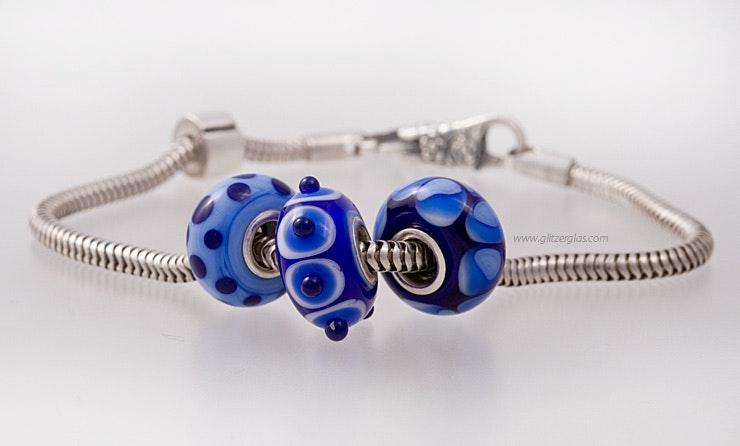 """""""Mare-Blu"""" Modulperlen 3er Set Modulperlen von mir handgefertigte Glasperlen passend zu allen gängigen Modularmbänder wie Pandora,Tollbead etc... alle Perlen sind mit einer Echtsilberhülse bestückt. (ohne Armband)"""
