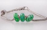 """""""Green-Mamba"""" 3er Set Modulperlen von mir handgefertigte Glasperlen passend zu allen gängigen Modularmbänder wie Pandora,Tollbead etc... alle Perlen sind mit einer Echtsilberhülse bestückt. (ohne Armband)"""