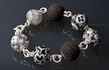 """""""Barcelona3"""" Armband mit 5 Muranoglasperlen,2 Lavaperlen alles mit echt Silberdraht verbunden und mit einem Karabinerverschluss (Schwestern Geschenk )"""