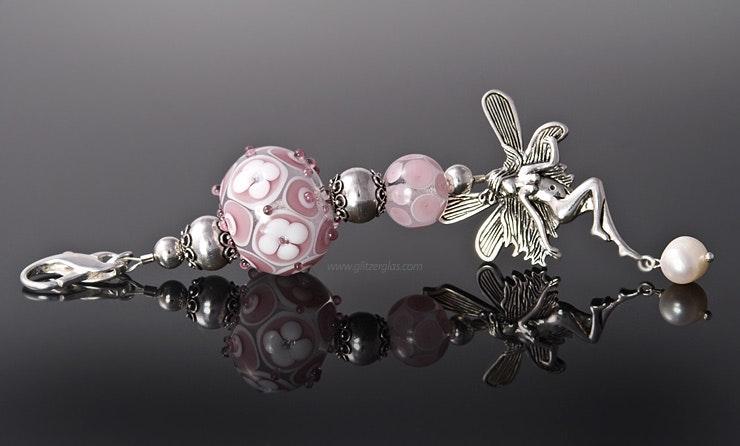 """""""Elfenzauber-Rosa"""" Kettenanhänger mit 2 Muranoglasperlen und echt Silber925 Schmuckteilen (verkauft/Aargau)"""