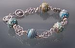 """""""Ibiza 5""""Armband aus Mini-Muranoglasperlen türkis/Elfenbeinfarbig und Silberschmuck Silber 925 (Bild 1 von 2) verkauft Muri - Aargau"""