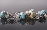 """""""Ibiza 5""""Armband aus Mini-Muranoglasperlen türkis/Elfenbeinfarbig und Silberschmuck Silber 925 (Bild 2 von 2)"""