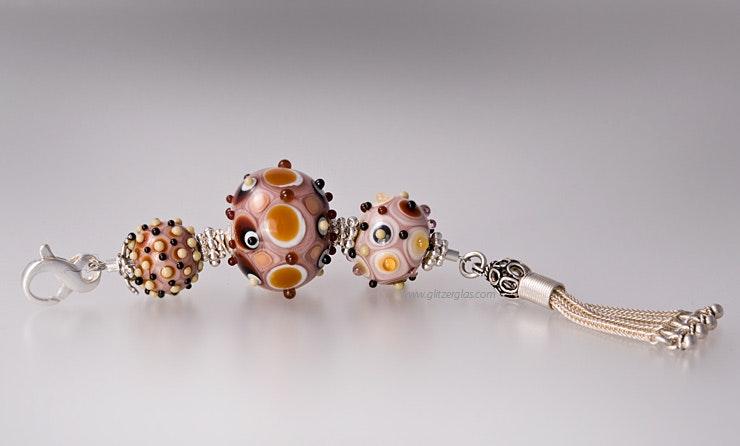 """""""Marrakech"""" Kettenanhänger mit 3 Muranoglasperlen und echt Silberteilen mit Quaste & Karabiner (verkauft)"""