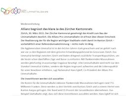 Medienmitteilung Allianz Pro Limmattalbahn, 30. März 2015