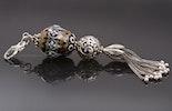 """""""Alibaba"""" Kettenanhänger mit Glasperle in braun/weiss/schwarz & echt Silber 925 Schmuckteile Tulpenquaste,Ornamentperle,Krabiner"""