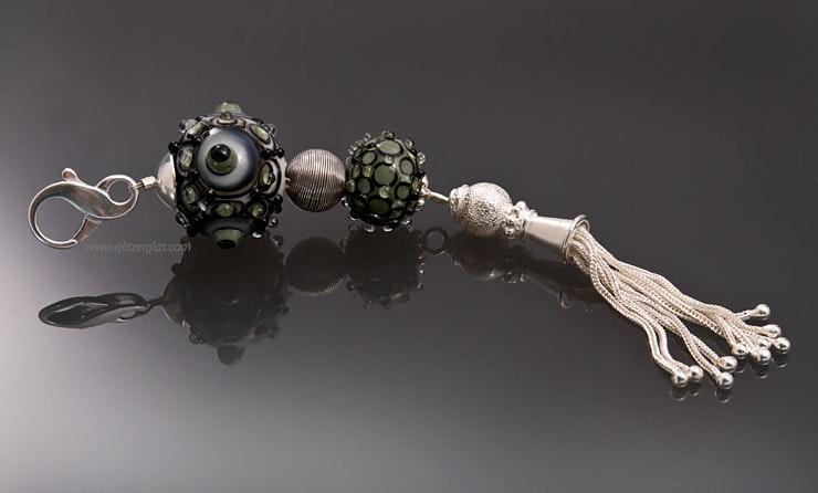 """""""Djerba"""" Kettenanhänger mit 2 Glasperlen in grau/oliv/schwarz , echt Silber Schmuckzubehör, Quaste/Perle/Karabiner"""