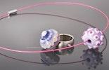 Fingerring mit Wechselperle und Halsreif mit Glasperle. Bestellung von Anja / Zürich.