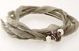 Indisches Seidenarmband in grau mit 1 Pandorastyle-Glasperle & 2 echt Silber925 Perlen (verkauft)
