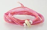 indisches Seidenarmband in rosa mit 1 Pandorastyle-Glasperle & 2 echt Silber 925 Perlen (verkauft)