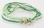 Indisches Seidenarmband in wassergrün mit 1 Pandorastyle-Glasperle & 1echt Silber925 Perle + 1 echt Silberzottel CHF 52.-