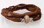 Indisches Seidenarmband in brau mit 1 Pandorastyle-Glasperle & 2 echt Silber925 Perlen (verkauft)