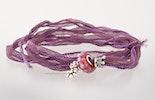 indisches Seidenarmband in violett mit einer Pandorastyle-Glasperle & 2 Echtsilber925 (verkauft)