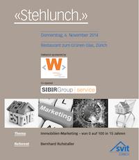 Stehlunch SVIT Zürich mit Referent B. Ruhstaller