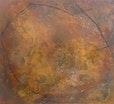 """"""" Geisseltierchen """"    1oo cm x 90 cm  pigmente , papiereinschlüsse  , Kreide  auf baumwolle"""