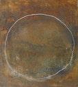 O.  T.  50 cm x 45 cm  eisenchloryd  und kreide  auf baumwolle