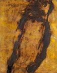 Erdfrau, 91  x  70 cm  eisenchloryd , asche , auf  leinwand