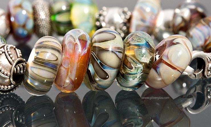 Pandora-/Trollbead-Style- Glasperlen und Echtsilberperlen 925.