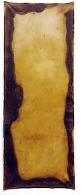 Quellentuch, 2004, Eisenchloryd u. Leinöl auf Baumwolle, 200x80 cm