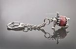 """""""Rosie""""  Schlüssel- oder Taschenanhänger mit Nilpferddame mit rosa Perle"""