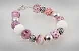"""""""Rosanna"""" Armband mit von mir handgefertigten Muranoglasperlen kombiniert mit echt Silber925 & weisser Koralle"""