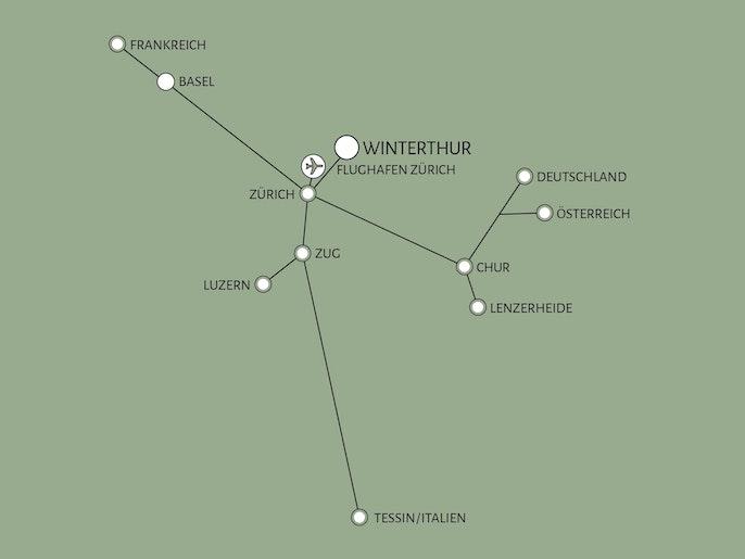 Mit der S-Bahn  in zwanzig Minuten in Zürich.