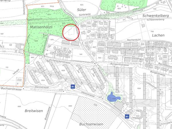 "Lage ""Matisenhölzli"" (Quelle: http://maps.zh.ch)"