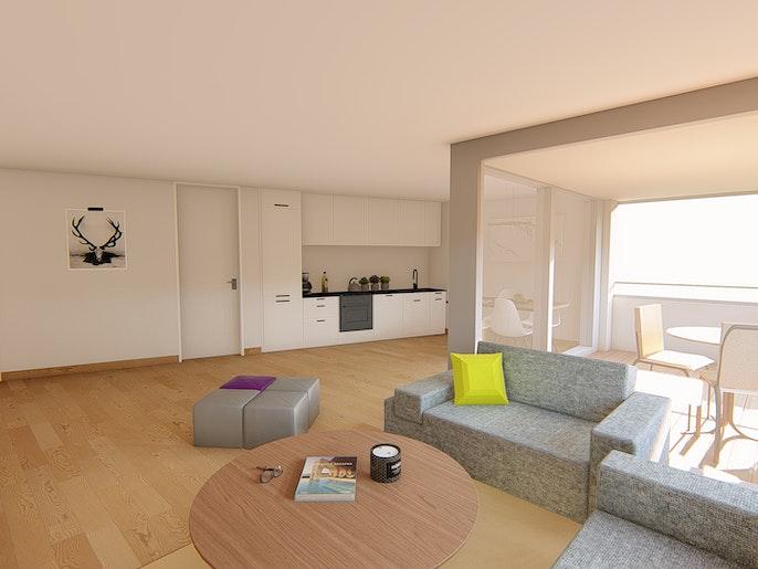 3.5 Zimmerwohnung EG: Wohnen / Essen / Küche
