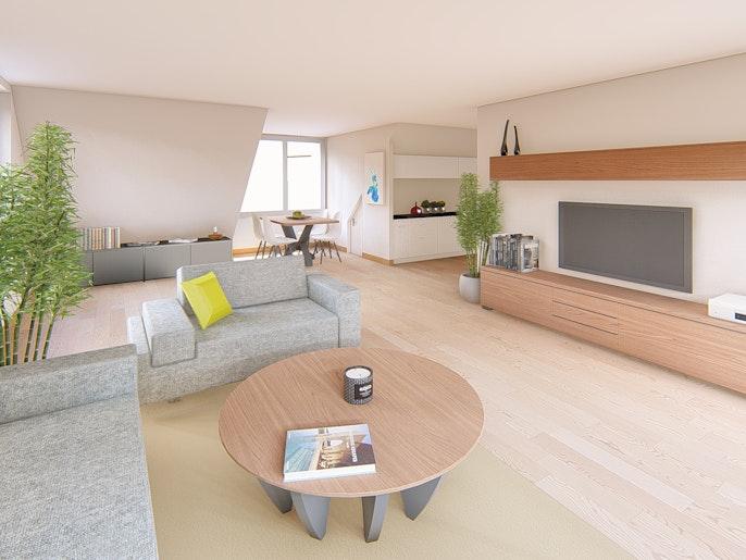 2.5 Attika Wohnung: Wohnen / Essen / Küche