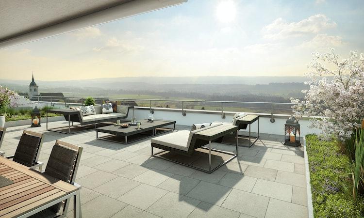 Visualisierung Terrasse mit Aussicht WHG 05