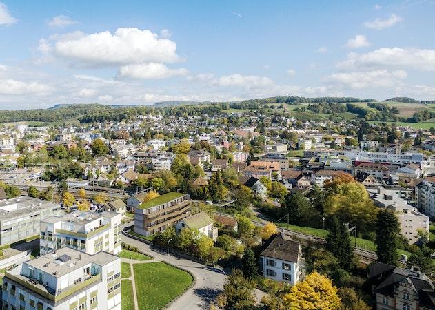 Luftaufnahme Bülach mit MFH Living 8
