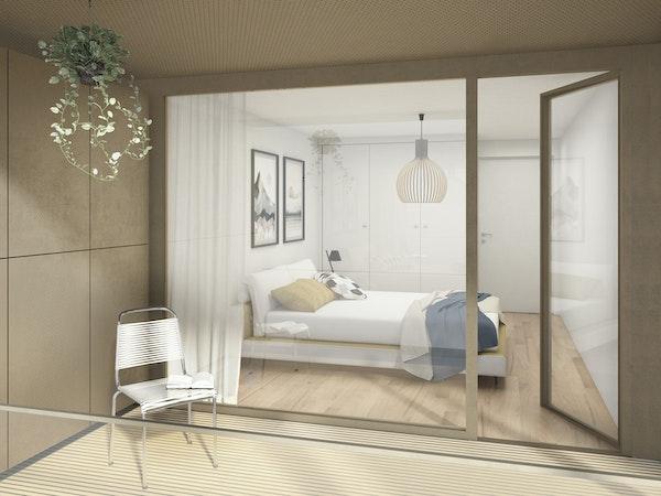 Blick von Loggia in Schlafzimmer