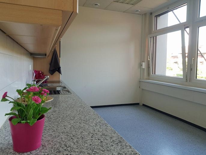 geräumige Küche mit Fenstern