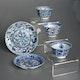 Cups & plate, Jingdezhen porcelain, Kangxi period, handpainted underglaze cobalt blue decoration, produced for export