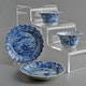"Cups & plate, Jingdezhen porcelain, Kangxi period, handpainted underglaze cobalt blue decoration, produced for export. Ddish 11cm, Dcup 7cm, Hcup 3.5cm. All marked ""meiyu"". Minyao (people's kiln) ware."