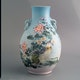 Vase porcelain, handpainted two pigeon under flowers in a landscape, origin unknown, 20th C. H33cm