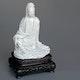 Dehua Guanjin white porcelain figure, with fitted zitan base, slipcast, ca.. 1790