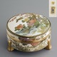 Japan lidded handpainted Satsuma box ca. 1930? Shimazu family crest