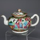 China famille rose decorated porcelain teapot, ca. 1780, in perfect condition.