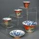 Cups high quality, Jingdezhen production, ca. 1790 (Jiaqing) period. Handpainted ducks in a pond. Flower decoration inside. Small cups: D6.5cm H4.5cm - bowl: D10cm H 7cm, cover: D9cm H3cm.