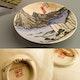 Japan dishes in Satsuma clackled glaze style, 1950's with Hiroshige ukiyo-e decoration.