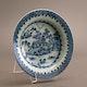 Arita bleu and white porcelain dish, D21cm, H3.5cm, restuck, ca. 1690-1720