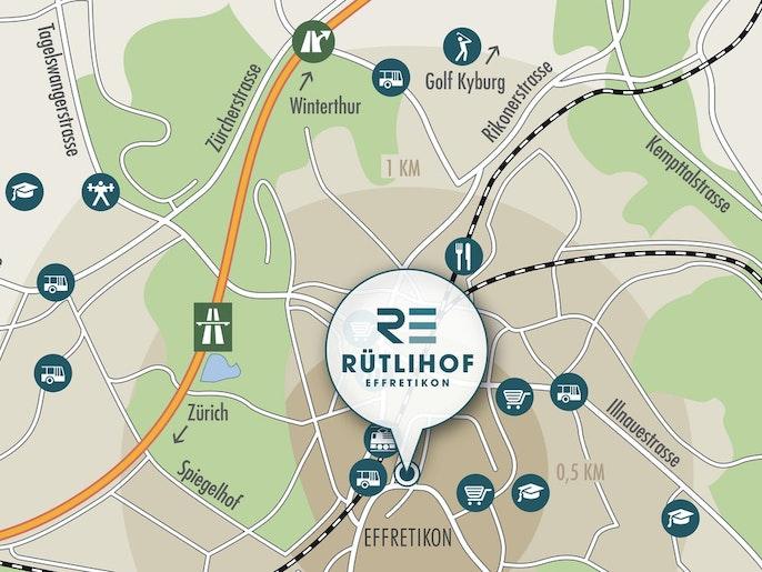 Rütlihof: Liegt auf der ruhigen Südseite des Bahnhofs.