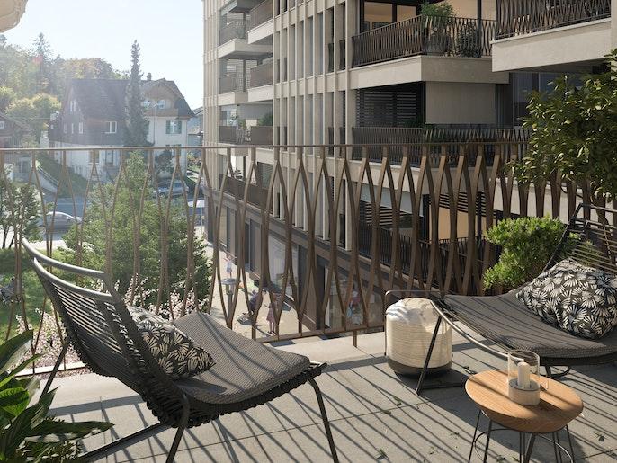 Balkon: Geschützte Privatsphäre im Freien, ausgerichtet zum Innenhof.