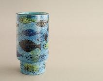 Rimini Blu vase w. fish decoration